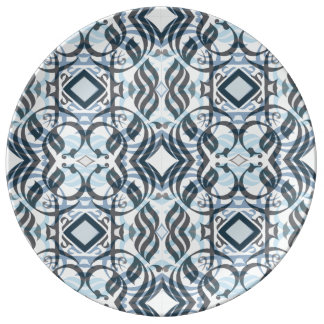 Calligraphic Dinnerplate in Layered Blue Plate