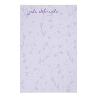 Calligraphic Flower Vine Lilac Stationery