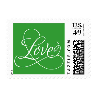 Calligraphic Love - Customize Color Postage Stamp