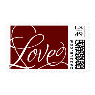 Calligraphic Love on Customizable Background Postage Stamp