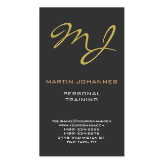 Calligraphic Monogram Gold Grey Business Card