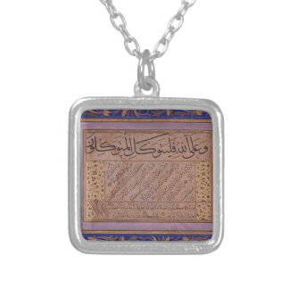 Calligraphic Writing in Sulus and Nesih scripts Silver Plated Necklace