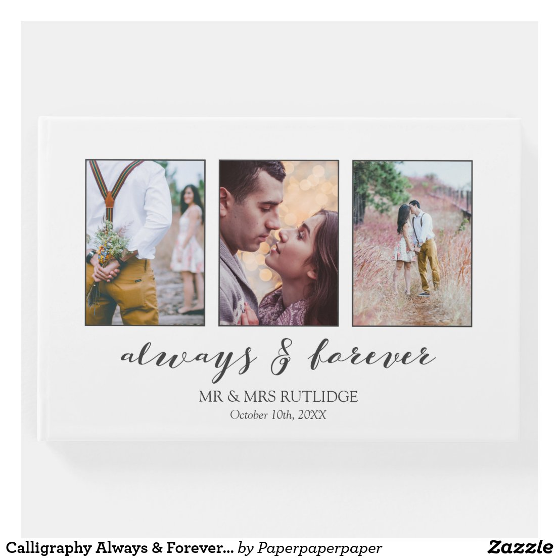 Calligraphy Always & Forever Photo Collage Wedding Guest Book