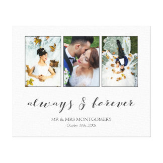 Calligraphy Always & Forever Wedding Photo Collage Canvas Print