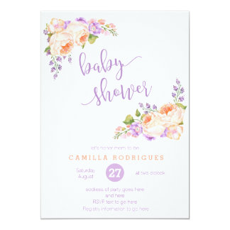 Calligraphy Baby Shower, Lilac Peach Baby Shower Card