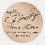 Calligraphy Bautizo Baptism And Dove Classic Round Sticker at Zazzle
