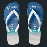 """Calligraphy Beach Groom Wedding Party Flip Flops<br><div class=""""desc"""">Calligraphy beach Groom wedding party flip flops with wide straps and customizable text - you can add Groom's name</div>"""