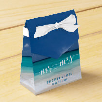 Calligraphy Beach Wedding Favor Boxes Tent