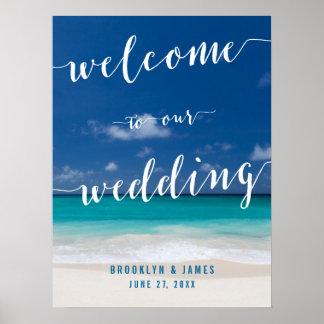 Calligraphy Beach Wedding Reception Sign 18x24