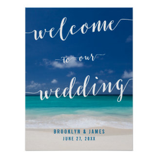 Calligraphy Beach Wedding Reception Sign 18x24 Poster