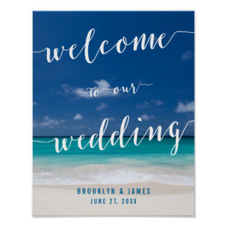 Calligraphy Beach Wedding Reception Sign Print