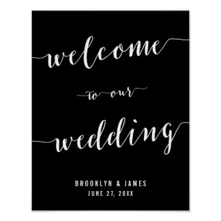 Calligraphy Black Wedding Reception Sign Print