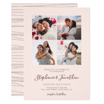 Calligraphy Blush Pink Photo Wedding Invitation