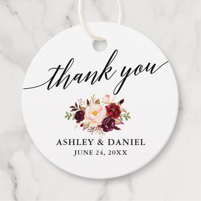 Calligraphy Burgundy Floral Wedding Thank You Favor Tags