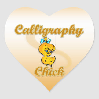 Calligraphy Chick Heart Sticker