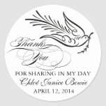 Calligraphy Dove and Thank You Text Classic Round Sticker