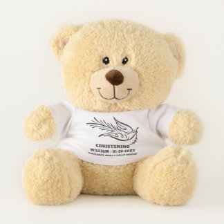 Calligraphy Dove Christening Memory from Godparent Teddy Bear