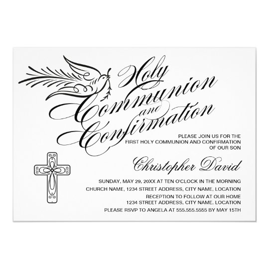 Calligraphy Dove Holy Communion and Confirmation Card