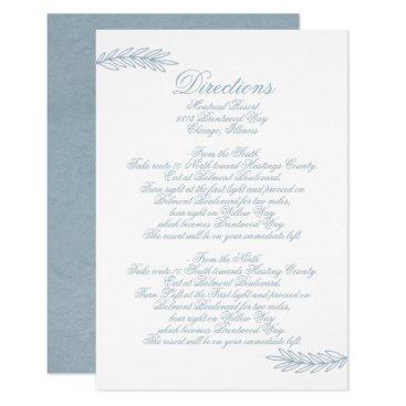 Calligraphy Dusky Blue Wedding Details card