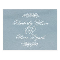 Calligraphy Dusky Blue Wedding rsvp Postcard