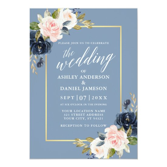 Calligraphy Dusty Blue Pink Floral Gold Frame Invitation