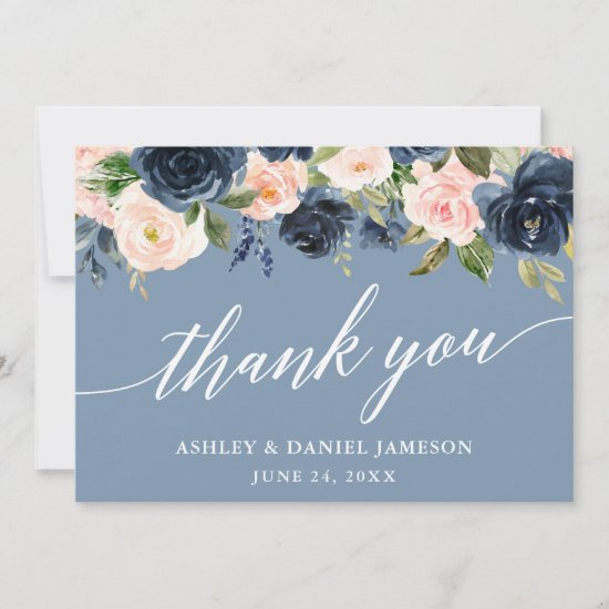 Calligraphy Dusty Blue Pink Floral Wedding Thank You Card
