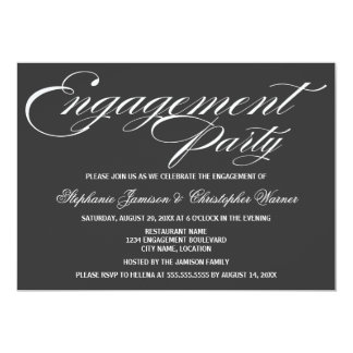 Calligraphy Elegance Gray Engagement Party Card