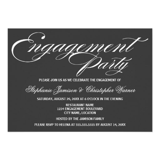 Calligraphy Elegance Gray Engagement Party Custom Invitations