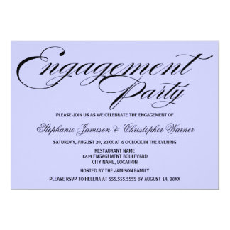 Calligraphy Elegance Lilac Engagement Party Announcement