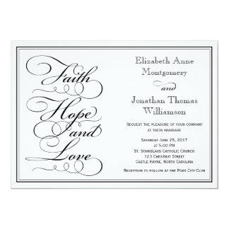 Calligraphy Faith Hope Love Wedding Invitation
