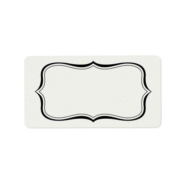 Calligraphy Frame Border Off White Label Template | Zazzle.com