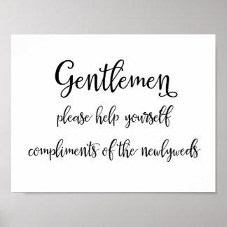 Calligraphy | Gentlemen bathroom basket sign Poster