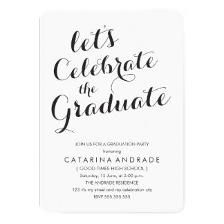 Calligraphy Graduation Party Photo Black White 5x7 Paper Invitation Card