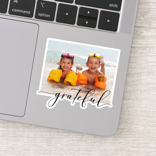 Calligraphy Grateful Photo Sticker