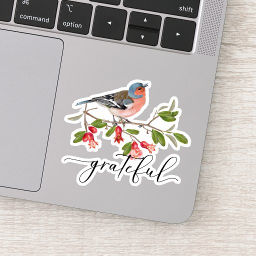 Calligraphy Grateful Watercolor Bird Flower Sticker