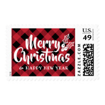 Calligraphy Holly Christmas Red Plaid Stamps