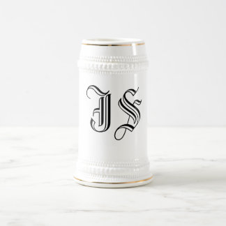 Calligraphy Initials Coffee and Beer Stein 18 Oz Beer Stein