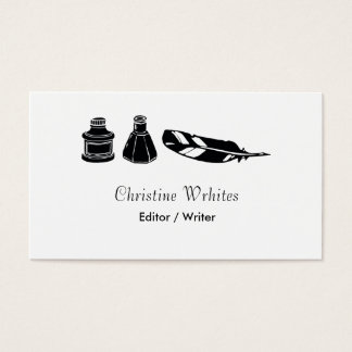 Calligraphy Ink Fountain Pen Quill Writer Author Business Card