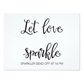 "Calligraphy   ""Let Love Sparkle sign"" Wedding sign Card"