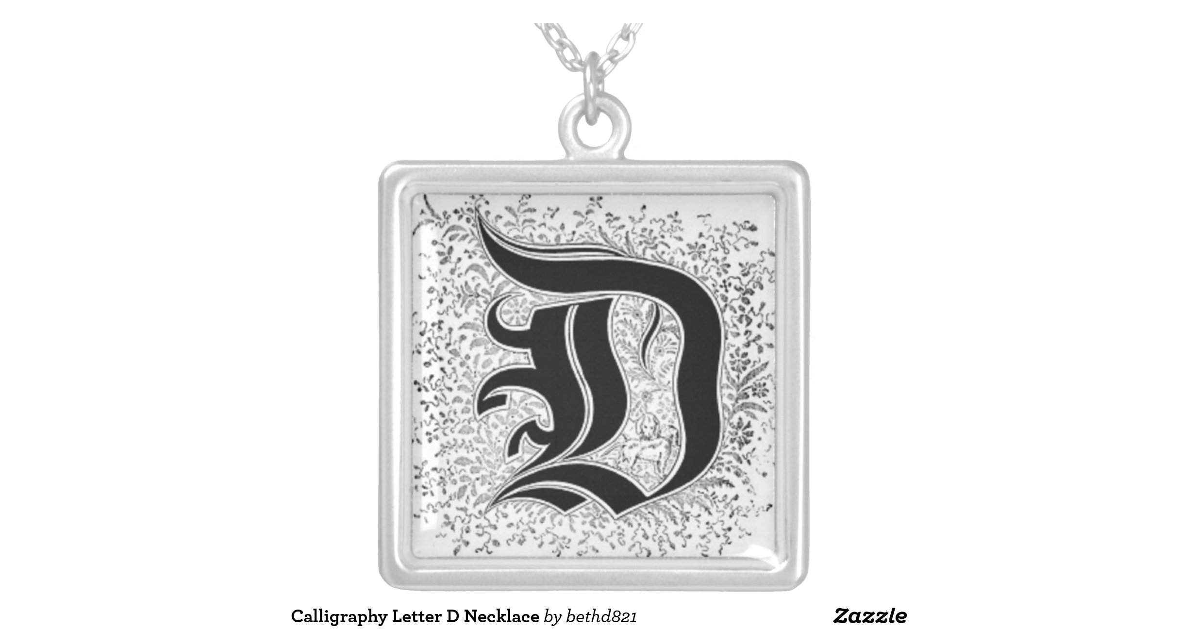 Calligraphy Letter D Necklace