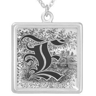 calligraphy letter e necklace
