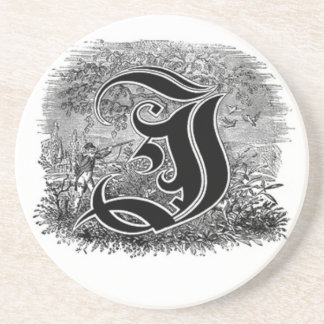 Calligraphy Letter I or J Coaster