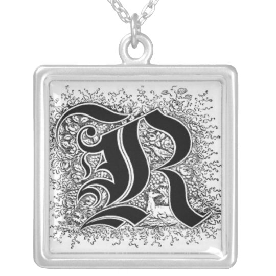 Calligraphy Letter R Necklace