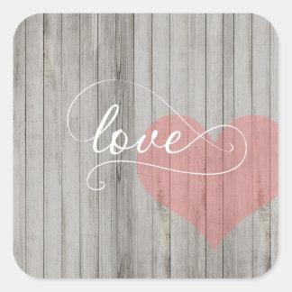 Calligraphy Love Rustic Wood Heart Sticker