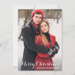 """Calligraphy Merry Christmas Picture Christmas Card<br><div class=""""desc"""">Use our portrait picture holiday cards with white, calligraphy script """"Merry Christmas"""" wording to wish your friends and family a merry Christmas. BONUS: The patterned backer can be changed to a different pattern and color. Go to the """"Personalize This Template"""" section then click the """"Click to Customize Further"""" at the...</div>"""
