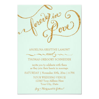 Calligraphy Mint Script Forever Love Gold Glitter Announcement