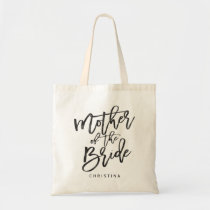 Calligraphy mother of the bride tote bag