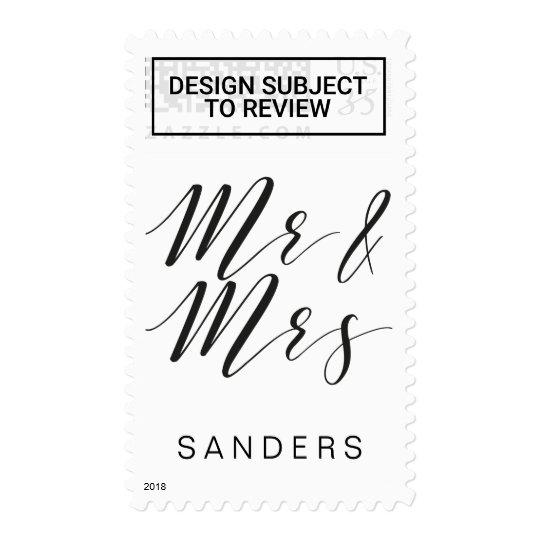 Calligraphy Mr and Mrs custom postage stamp
