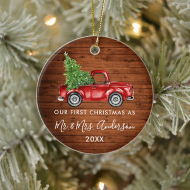 Calligraphy Mr. Mrs. First Christmas Wood Truck Ceramic Ornament