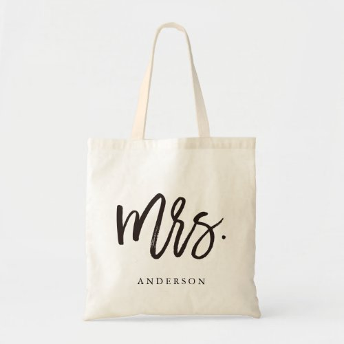 Calligraphy Mrs Modern Chic Tote Bag